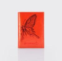 Бумажник водителя.Тиснение бабочка. BV.26 NK.коралловый