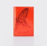 Обложка для паспорта.Тиснение бабочка. O.14.NK.коралловый
