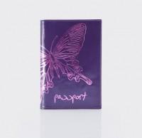 Обложка для паспорта.Тиснение бабочка. O.14.NK.фиалковый
