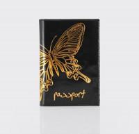 Обложка для паспорта.Тиснение бабочка. O.14.NK.черный
