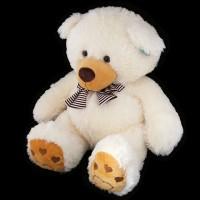 Медведь светлый с полосатым шарфом
